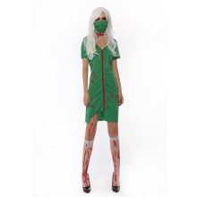 Sexy New Arrival Halloween Costumes Green Nurse Dress Zombie Cosplay Vampires Role Play Disfraces Fancy Female Nurses Costumes(China)