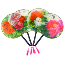 Large Peony Chinese Silk Fan Handle 3d Print Decorative Fan for Women Personalized Hand Fans Wedding Favors 10pcs/lot(China)
