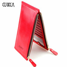 CUIKCA Fashion Wallet Women Wallet Double Zippers Colourful Ultrathin Coins Wallet Women Handbag Women Purse Card Holders 1039