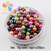 Lucia Crafts 5/6/8/10mm mixed color Acrylic Chunky Garment Beads Imitation Pearl D02803003(China)