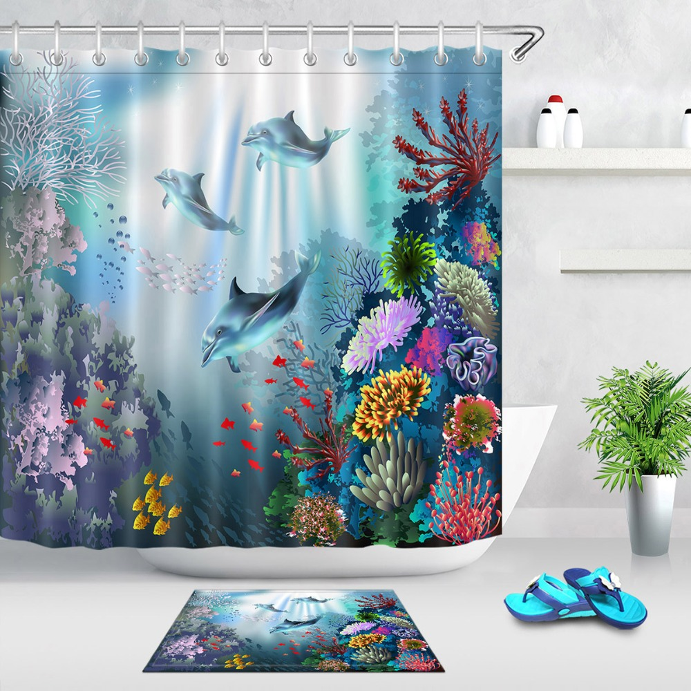 Underwater Sharks Fabric Shower Curtain Set 180CM Polyester Liner Curtains Mat