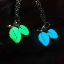 Double Leaves Leaf Glowing Pendant Necklaces Jewelry Silver Plated Chain Statement Necklaces Glow In The Dark Necklaces Gifts