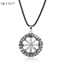 MQCHUN Jewelry Viking Odin's Symbol of Norse Runic Viking Runes Vegvisir hollow Compass Pendant Necklace Women Men Gift