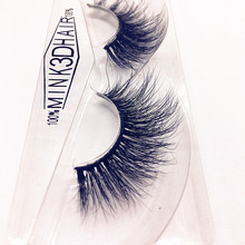 1Pair 3D Eye Lashes Pure Mink Natural Black Long Thick False Fake Eyelashes Makeup Tail Extension A01(China)