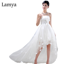 High Low Front Short Long Back Wedding Dress Lace Up White Elegant Ribbon Sashes Flowers Vestidos De Novia Cheap Bridal Gown(China)