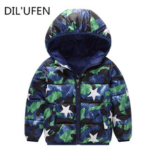 DIL'UFEN 2017 boys Girls outerwear cotton winter Hooded baby Jacket Kids Coat children's clothing Thick Down & Parkas(China)