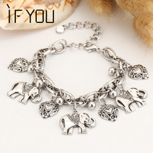 IF YOU Trendy Silver Color Charm Bracelet Bohemian Statement Women Bracelet With Elephant Pulseira Vintage Jewelry For Women(China)