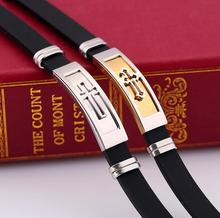 one piece popular black silica gel white/gold color cross pendant casual men's wrist bangle xyb209(China)
