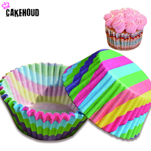 100Pcs Colorful Rainbow Paper Cupcake Liner Baking Muffin Box Cup Case Party Tray Cake Mold Decorating Tool Cake Cooking Cup