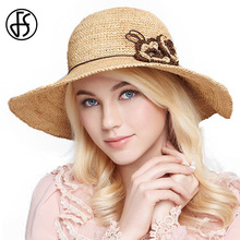 FS Summer Foldable Straw Hat For Women Large Wide Brim Flower Beach Sun Hats Women Fashion Brown Yellow Visor Holiday Hats(China)