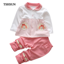 Buy TSHSUN 2PCS Set Cute Baby Girls Clothes 2017 Autumn long sleeve Cotton Toddler Kids Tops+Pants Children Girl Clothing Set for $7.95 in AliExpress store