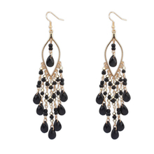 Luxury Design Gold Color Chandelier Style Dangle Earrings Bohemia Colorful Bead Long Earrings For Womens Jewelry Brincos