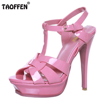 woman real genuine leather brand sandals high heel platform rome shoes summer punk t-strap buckle footwear size 33-40 R08543