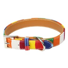 Pet Dog Collar Designer Collar For Large Dog Leather Plain collar for big small dog Colorful Rainbow Dog collar