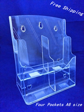 Clear A6 Four Pockets Plastic Brochure Literature Display Holder Racks Stand To Insert Leaflet On Desktop(China)