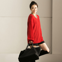 M003b loose multicolor woven cutout pattern o-neck solid color thin mohair sweater female(China)