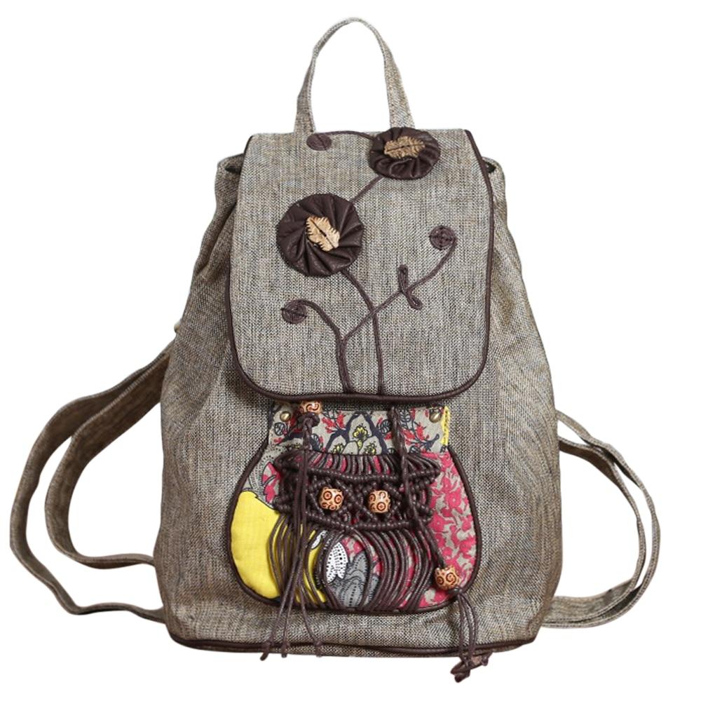 Coofit Retro Flowers Female Backpack National Beaded Weave Women Bagpack Vintage Canvas Backpack Schoolbag For Teenager Girls<br>