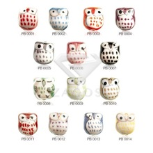 10Pcs 17x15x13nn Owl Animals Porcelain Handmade Beads Pendants Fit Bracelet Necklace 14 Color Choose Wholesale PB0001-14(China)