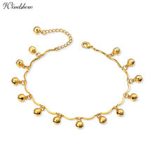 New Yellow Gold Color Bead Bells Charms Chain Friendship Ankle bracelet Anklet For Womens Girls Summer Beach Foot Jewelry(Китай)