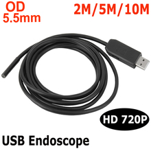 5.5mm Mini Endoscope Camera USB Port 1m 2m 3m 5m 6 LED Inspection Borescope Camcorder Camera Fo Windows Computer