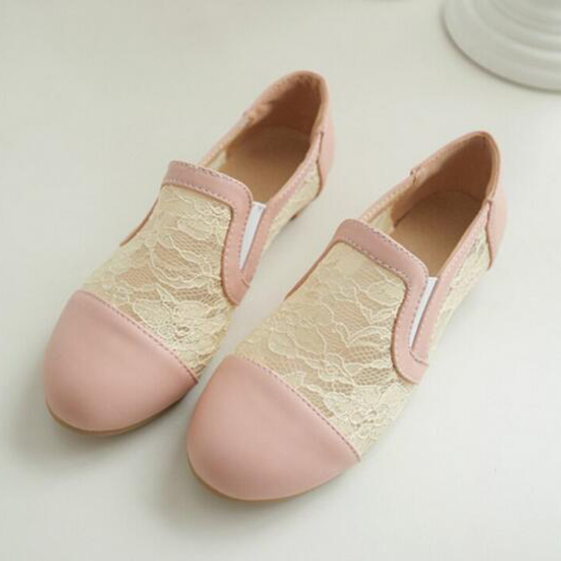 Female lace stitching flat shoes with shoes cute schoolchildren large size women shoes 34-43 w664<br><br>Aliexpress