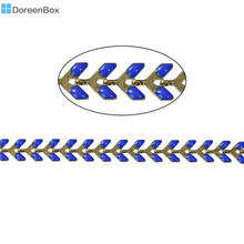 "Doreen Box Copper Spiky Chains Findings Gold color Royal Blue Enamel 7x6mm( 2/8"" x 2/8""), 1 Piece(Approx 0.5 M/Piece)"
