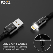 PZOZ for Lighting Cable Fast Charger Adapter Mobile Phone 8 Pin LED USB Cable For iphone 6 S Plus 7 5 iPad Air 2 iPod Touch i6