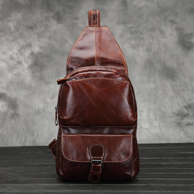 2017 New Trend Fashion Retro Oil Wax Genuine Leather Men Chest Pack Sling Shoulder Bag Casual Travel Zipper Bags vintage <br>