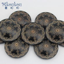 Exquisite wooden clasp laser black mushroom hidden-interlocking trench coat couture fashion buttons