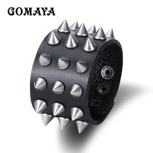 GOMAYA Tide Men Leather Bracelet Spiked Rivets Wide Flat Punk Style Riding Charm Bracelet For Wen Jewelry(China)