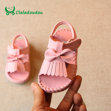 Claladoudou 12-14CM Baby Sandals Kids Girl White Bowtie Moccasins Sandals For Toddler Slipper Princess Tassels Cute Infant Shoes