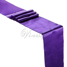 "Free Shipping 10PCS New Purple Satin Table Runners 12"" x 108'' Wedding Party Banquet Home Hotel Decorations 30cm x 275cm(China)"