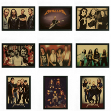 Vintage Retro rock band music Guitar Matte Poster Wall Sticker Home Decora Metallica part 2(China)