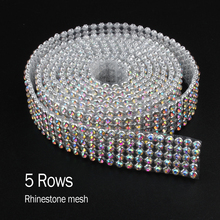 Hot sale 5Rows Rhinestone mesh Silver SS8 crystalAB Aluminum glue base for garment Bags free shipping(China)