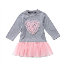 Pudcoco Cute Princess Pink Heart Girls Grey Dress Kids Baby Party Wedding Pageant Long Sleeve Winter Dresses(China)