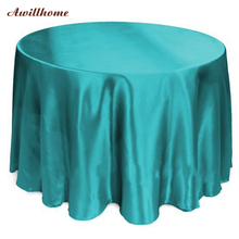 free shipping 108in. tablecloth white round table cloths satin table cloth table linen(China)