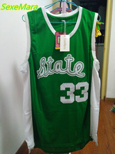 SexeMara Cheap Magic Earvin Johnson #33 State College Stitched Green Throwback Basketball Jerseys(China)