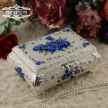Fashion European Style Metal Jewelry Case Zinc-aloy Trinket box Christmas Gift Packing Necklace Package wedding decoration Z024(China)