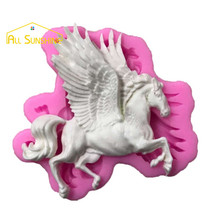 Pegasus Horse with Wings Fondant Cake Mold Candle Chocolate Candy Mold DIY Baking Gadgets Cake Decorating Tool Molde de Silicone(China)