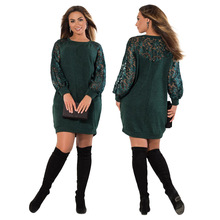 Buy 6XL 5XL Plus Size Spring Autumn Dress Women Clothing Elegant Party Sexy Lace Stitching Large Size Dress Office Dresses Green Red for $19.28 in AliExpress store