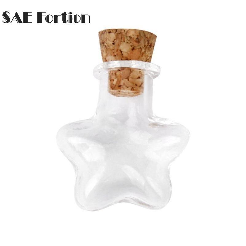 50 un Mini Pequeña Tapón De Corcho Botellas de Vidrio Transparente Viales vacíos Tarros Colgantes UK