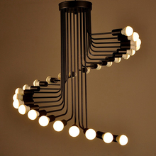 One combo 26 light Loft Modern LED Pendant Light Iron tube Spiral Staircase E27 Lamp Drop Lighting Fixture with free EXPRESS