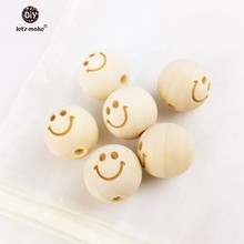 Let's Make 20mm Round Necklace Wooden Beads Smiling Face - unfinished 40 pieces baby teether wooden teething Beads