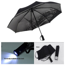 4 Color sale LED Umbrella Rain Women parasol UV umbrella Men with flashlight Eiffel Tower sun shade umbrella automatic umbrella(China)