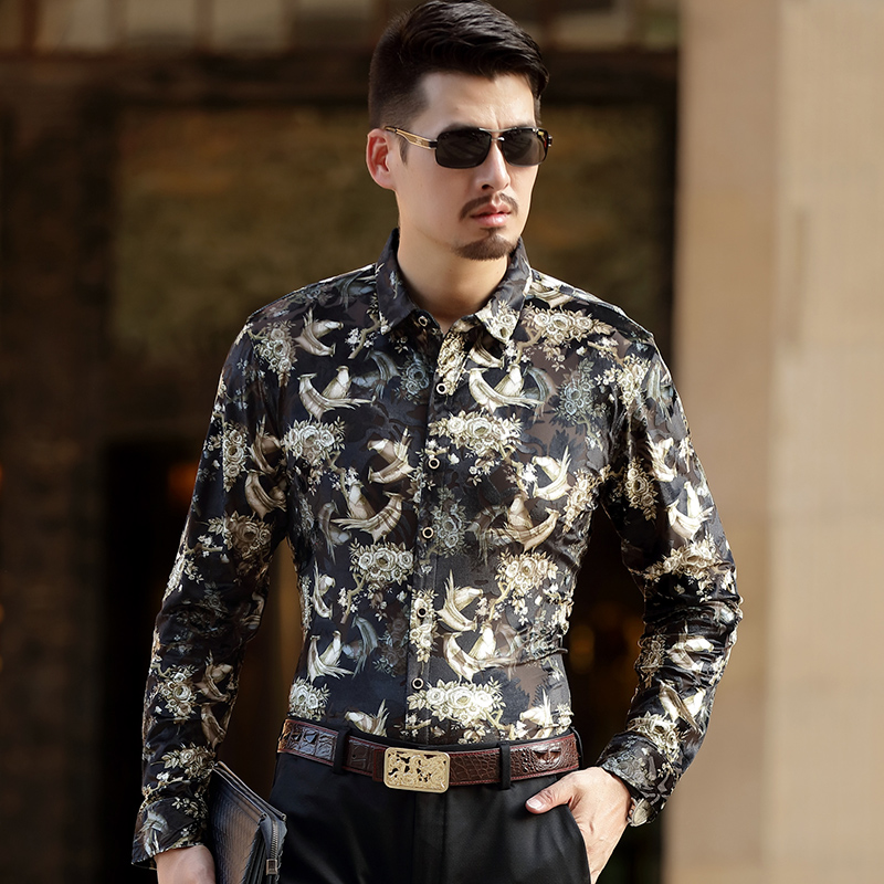 Floral velvet hollow high-end quality long sleeve shirt 2017 Autumn&Spring golden velvet men dress shirt soft and comfortable
