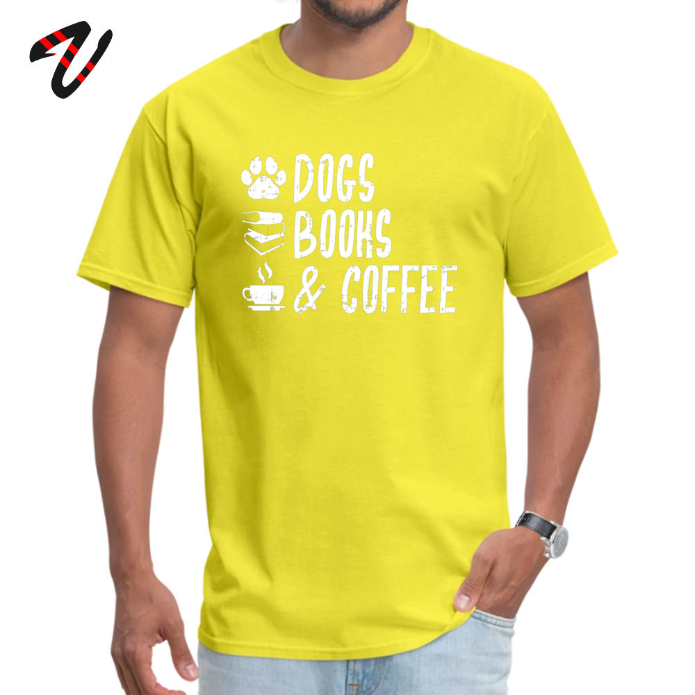Printed 100% Cotton Fabric T Shirts for Men Short Sleeve Crazy Tops Shirt Graphic NEW YEAR DAY Round Neck _black T-shirts Design Dogs Books and Coffee Dog Lover Coffee Lover  yellow
