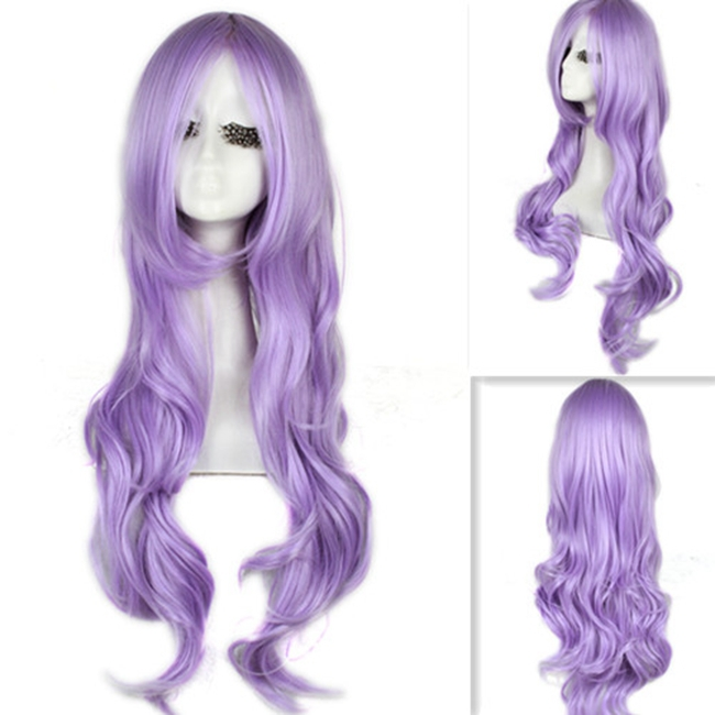 Free Shipping 65cm With Bnags Womens Synthetic Curly Wavy Hair Long Light Purple Cosplay Wig<br><br>Aliexpress
