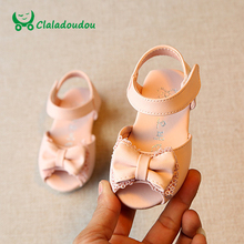 Claladoudou Baby Sandals Girls Pink Lace Cute Shoes Kids Girl White Bowtie Moccasins Baby Sandals For Toddler Slipper For Infant