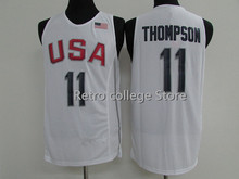 cheap #12 DeMarcus Cousins #11 Klay Thompson Team usa Basketball Jersey Retro throwback Embroidery Stitched(China)