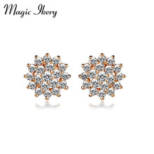 Magic Ikery Top Aurtrian Crystal Opal Snow Flower Earrings Jewelry Gold Color Imported Charming Earrings for women MKY160(China)